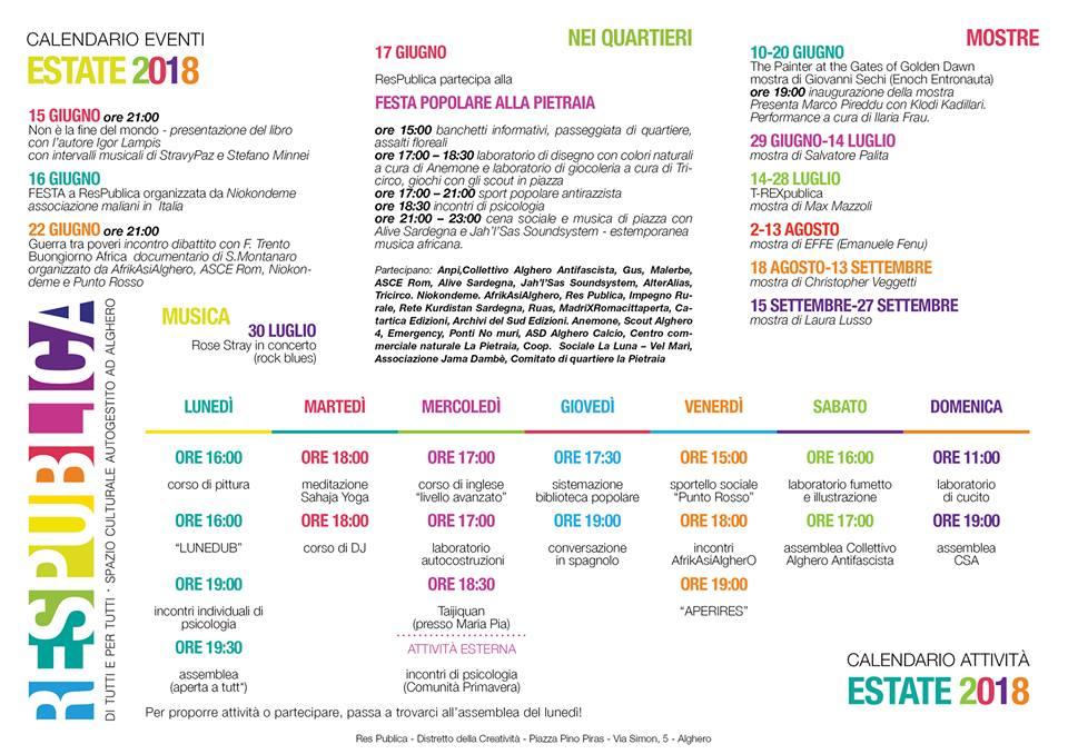 Calendario In Spagnolo.Calendario Respublica Tot Alguer Tutto Alghero